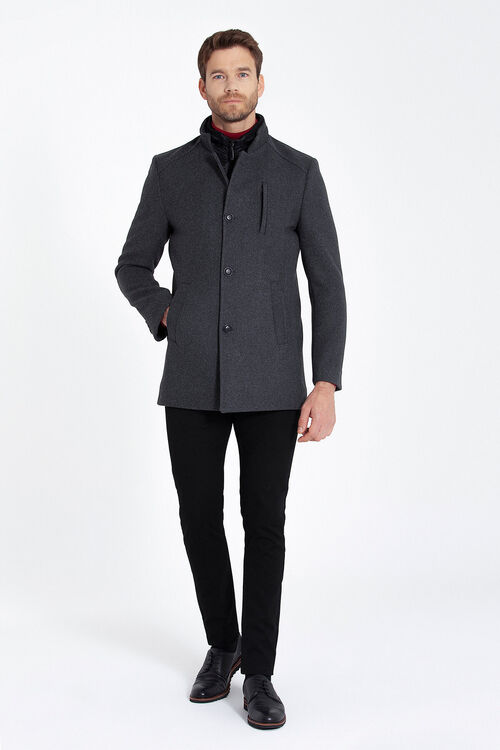 Gri Hakim Yaka Yünlü Palto