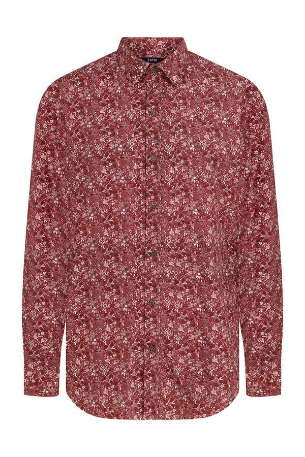 Slim Fit Baskılı Kırmızı Gömlek
