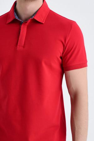 Kırmızı Yaka Desenli Polo Yaka Tişört - Thumbnail