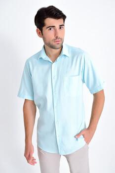 Kısa Kollu Klasik Mavi Gömlek - Thumbnail