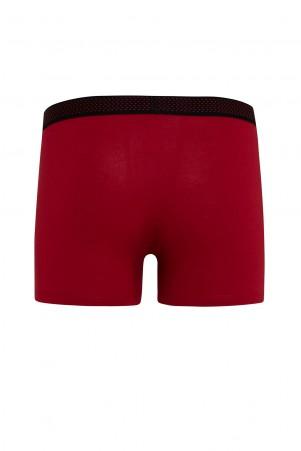 Kırmızı - Siyah 2'li Düz Boxer - Thumbnail
