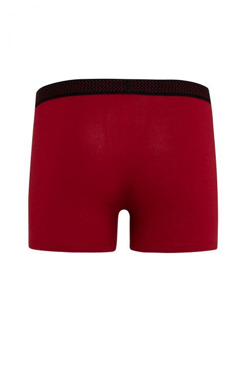 Kırmızı - Siyah 2'li Düz Boxer