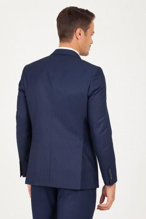 Lacivert Slim Fit Çizgili Takım Elbise - Thumbnail