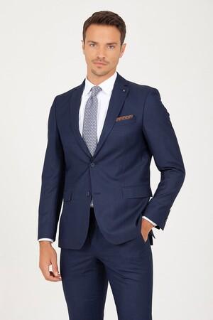 Lacivert Slim Fit Çizgili Takım Elbise