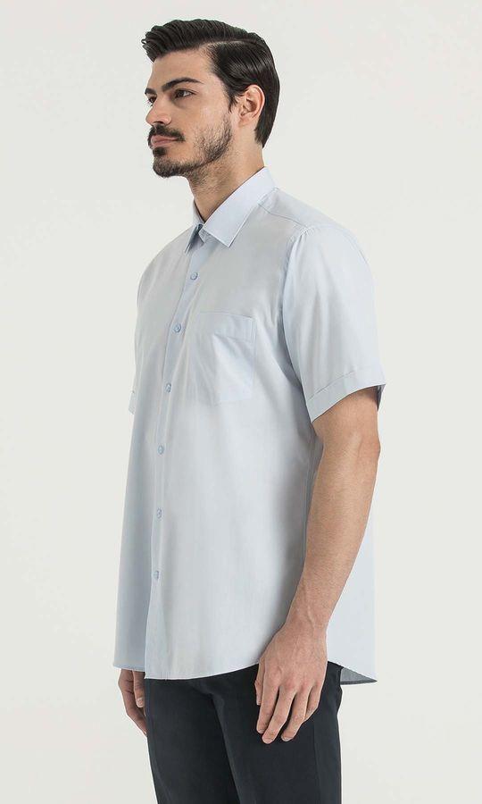 Kısa Kol Açık Mavi Klasik Gömlek