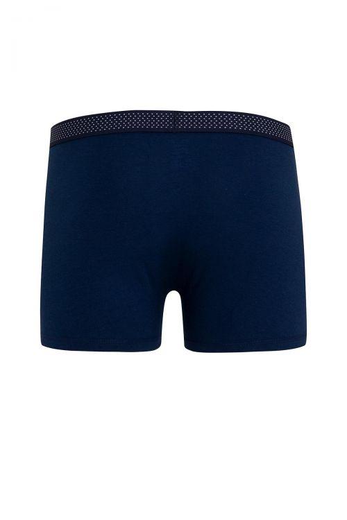 Mavi - Lacivert 2'li Düz Boxer
