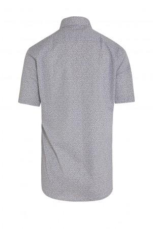 Lacivert Baskılı Slim Fit Gömlek - Thumbnail