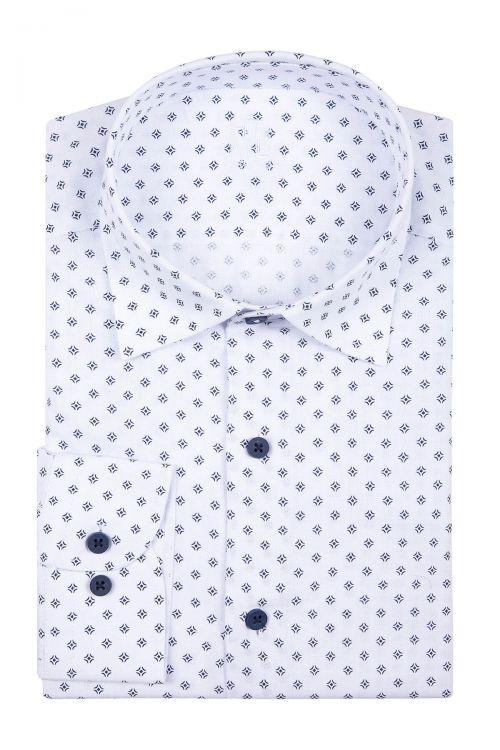 Beyaz Baskılı Klasik Gömlek