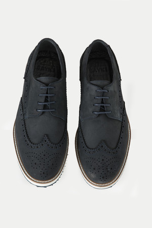 Lacivert Deri Günlük Ayakkabı - Thumbnail