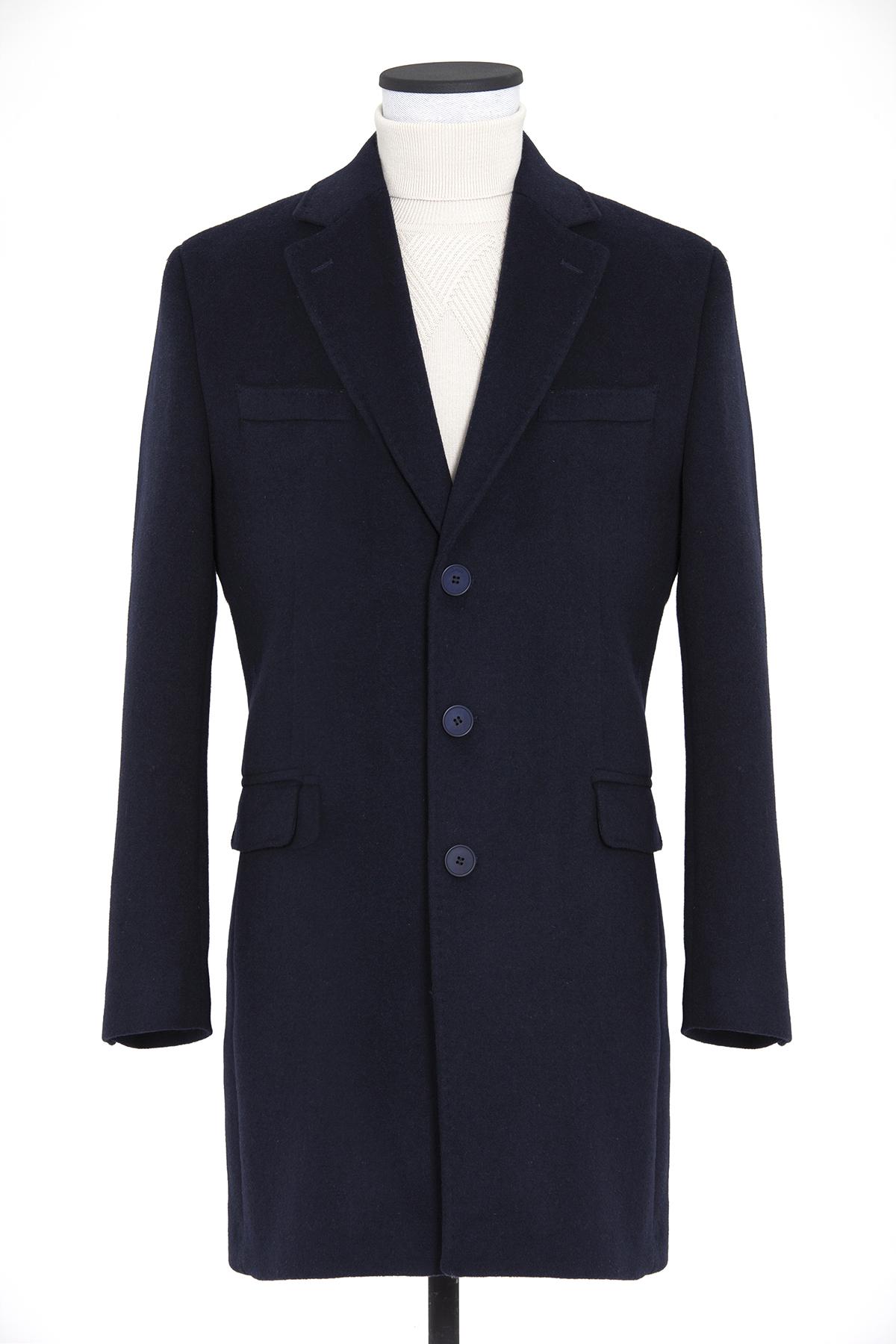 Lacivert Ceket Yaka Palto