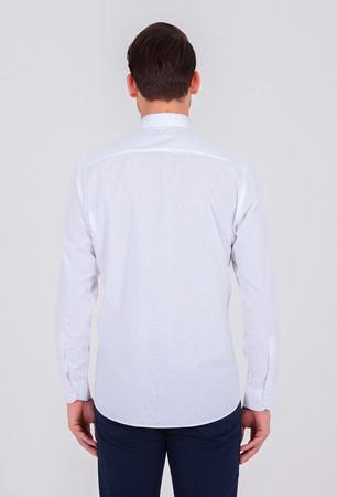 Lacivert Baskılı Klasik Gömlek - Thumbnail