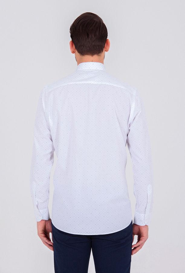 Lacivert Baskılı Klasik Gömlek