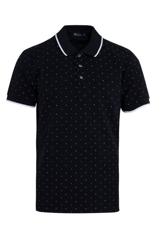 Lacivert Baskılı Polo Yaka Tişört
