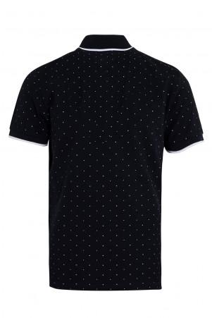 Lacivert Baskılı Polo Yaka Tişört - Thumbnail