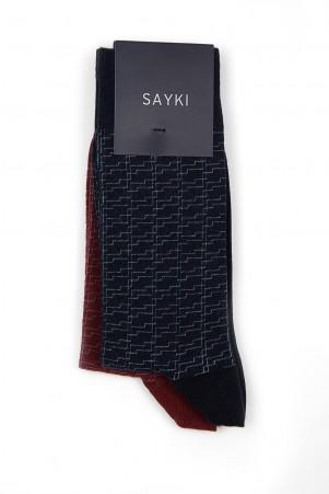 Lacivert - Bordo 2'li Desenli Soket Çorap - Thumbnail
