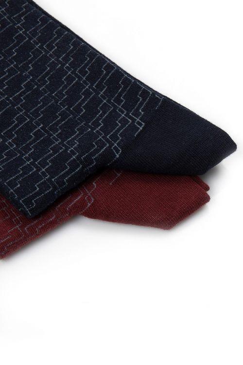 Lacivert - Bordo 2'li Desenli Soket Çorap