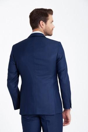 Lacivert Çizgili Silim Fit Takım Elbise - Thumbnail