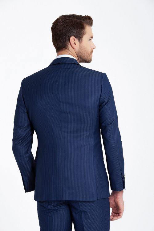 Lacivert Çizgili Silim Fit Takım Elbise