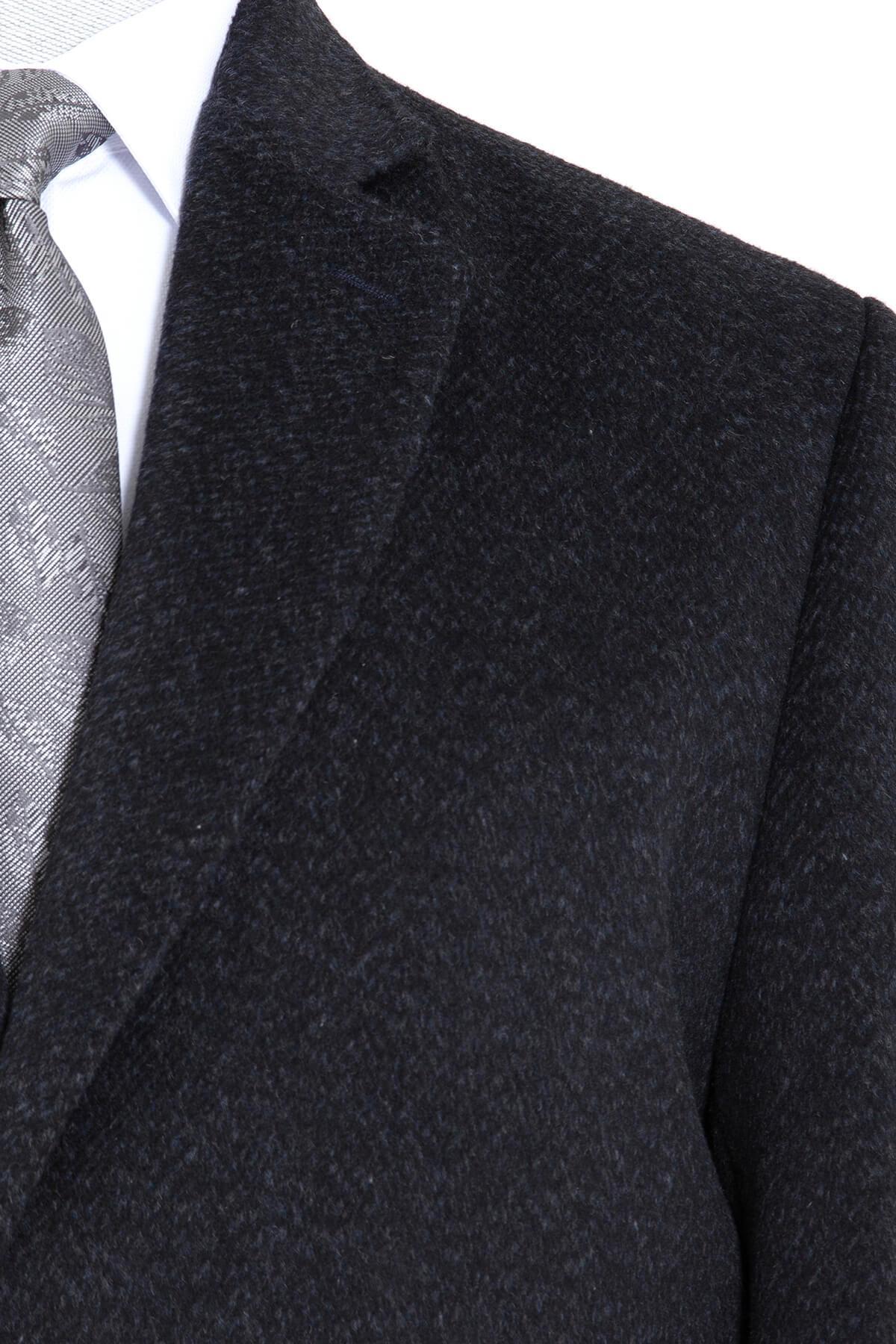 Lacivert Desenli Ceket Yaka Palto - Thumbnail