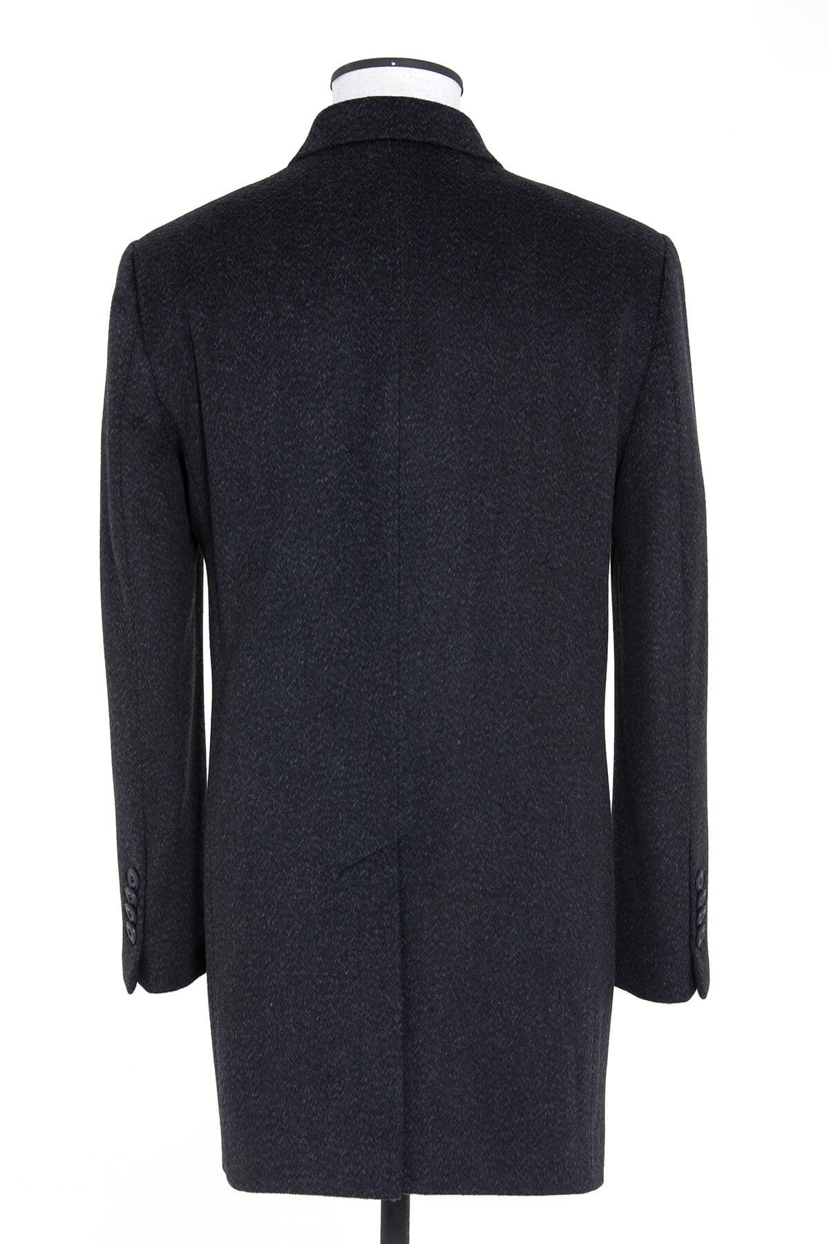 Lacivert Desenli Ceket Yaka Palto