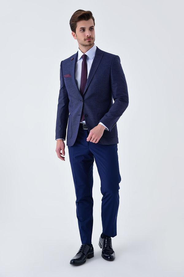 Lacivert Slim Fit Desenli Blazer Ceket