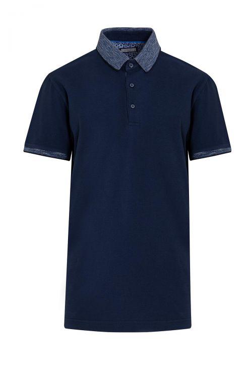 Lacivert Desenli Polo Yaka Tişört