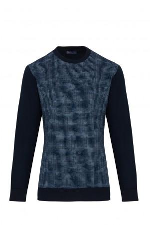 Lacivert Desenli Slim Fit Sweatshirt - Thumbnail
