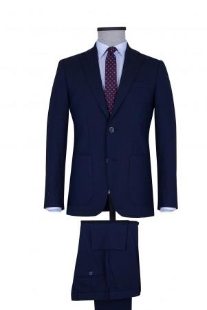 Lacivert Desenli Slim Fit Takım Elbise - Thumbnail