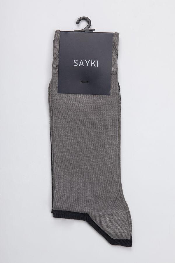 Lacivert-Gri Çorap