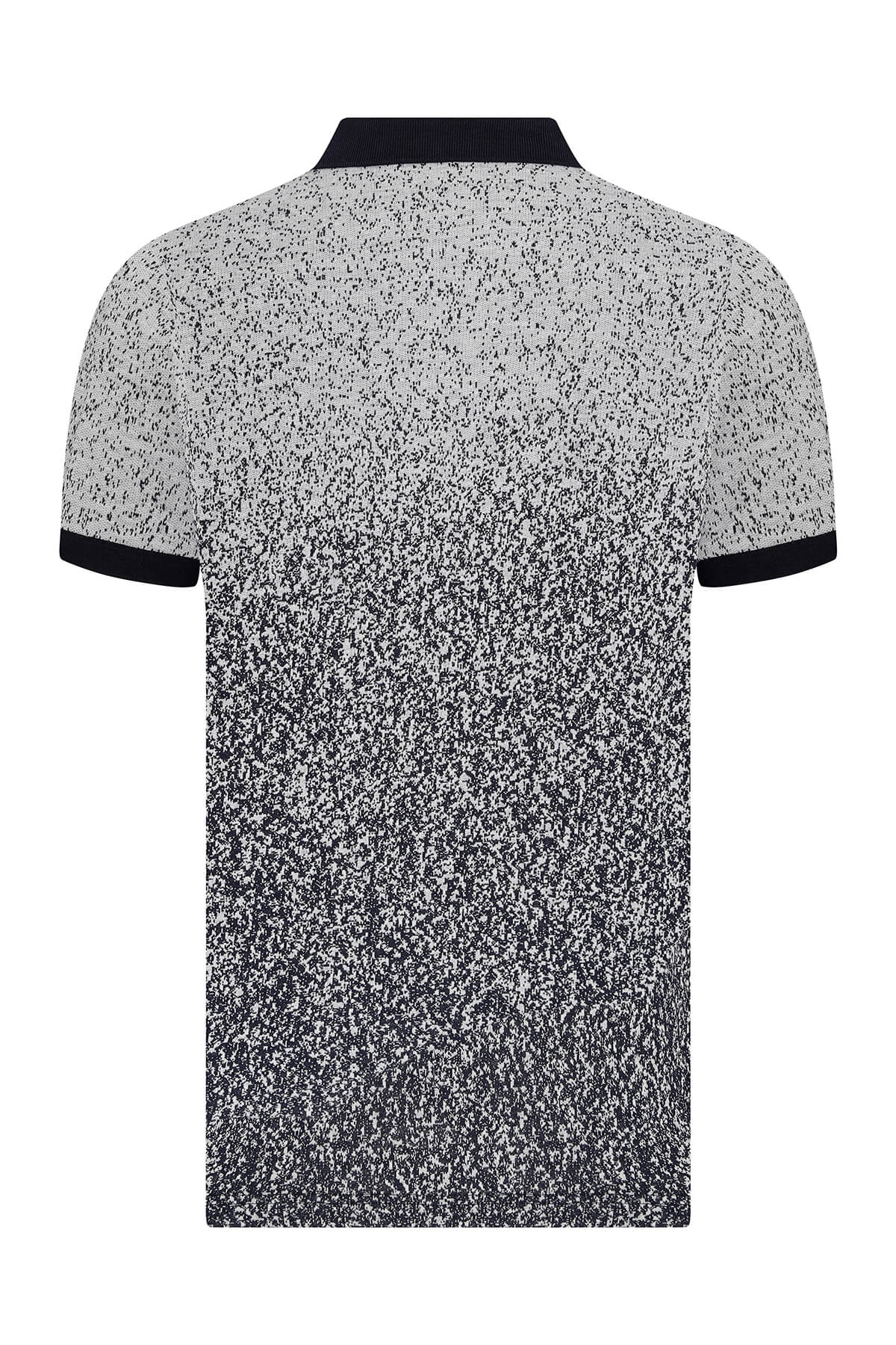 Gri Baskılı Lacivert Polo Yaka Tişört - Thumbnail