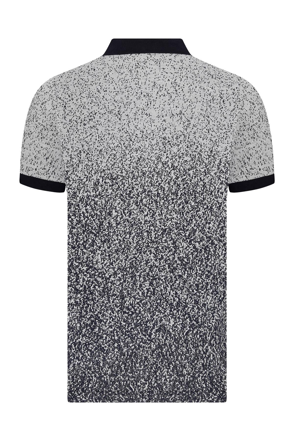 Gri Baskılı Lacivert Polo Yaka Tişört
