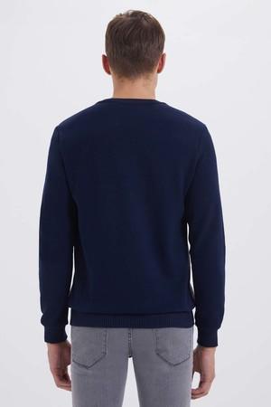 Lacivert - Gri Slim Fit Sweatshirt - Thumbnail