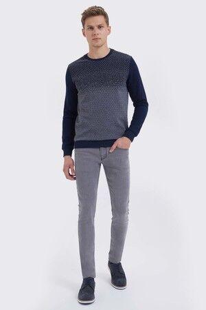Lacivert - Gri Slim Fit Sweatshirt