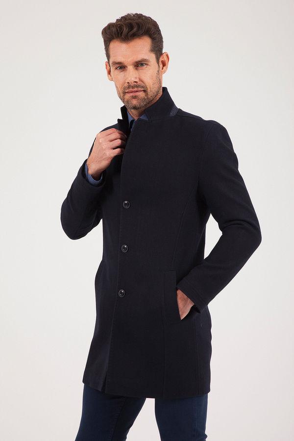 Lacivert Hakim Yaka Yün Palto