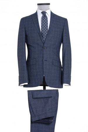 Lacivert Kareli Slim Fit Takım Elbise - Thumbnail