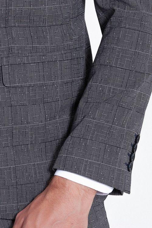 Lacivert Kareli Yelekli Kombin Takım Elbise
