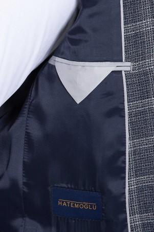 Lacivert Kareli Mix Takım Elbise - Thumbnail