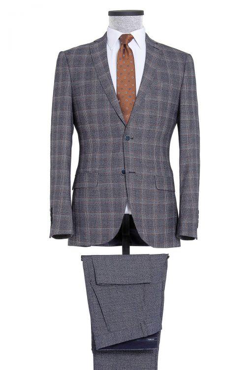 Lacivert Kareli Slim Fit Takım Elbise