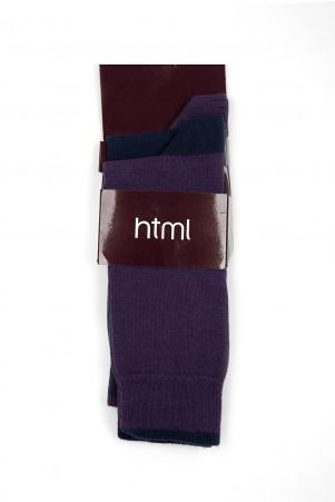 Lacivert - Mor 2'li Soket Çorap - Thumbnail