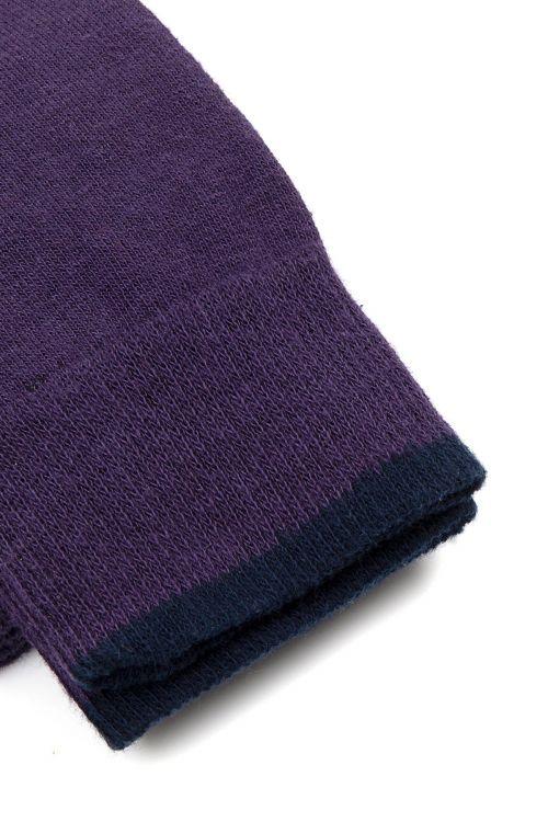 Lacivert - Mor 2'li Soket Çorap