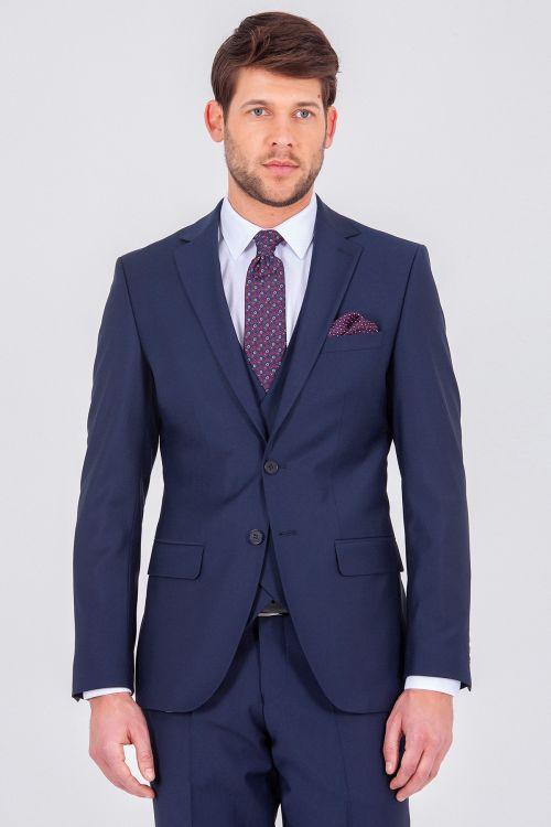 Lacivert Yelekli Slim Fit Takım Elbise
