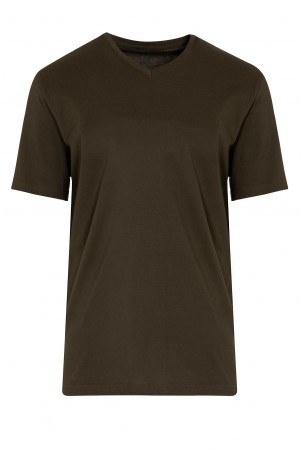 V Yaka Basic 3'lü Pamuklu Tişört - Thumbnail