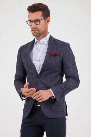 Lacivert Slim Fit Desenli Klasik Ceket