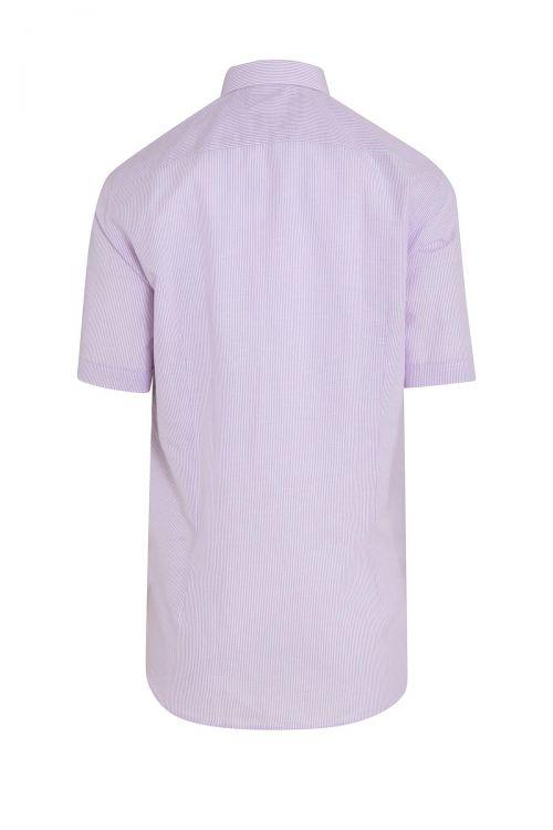Lila Çizgili Kısa Kol Klasik Gömlek