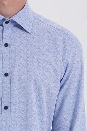 Mavi Baskılı Slim Fit Gömlek - Thumbnail
