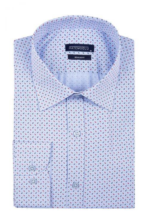 Mavi Baskılı Klasik Gömlek