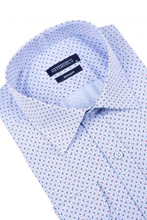 Mavi Baskılı Klasik Gömlek - Thumbnail