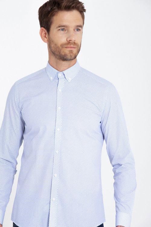Slim Fit Desenli Mavi Gömlek