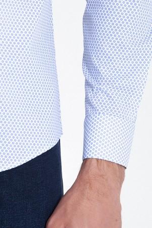 Slim Fit Desenli Mavi Gömlek - Thumbnail