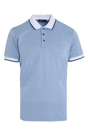 Mavi Baskılı Polo Yaka Tişört - Thumbnail